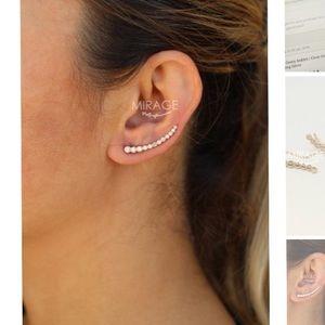 StudioMirage Classic Bezel Ear Climbers Rose Gold